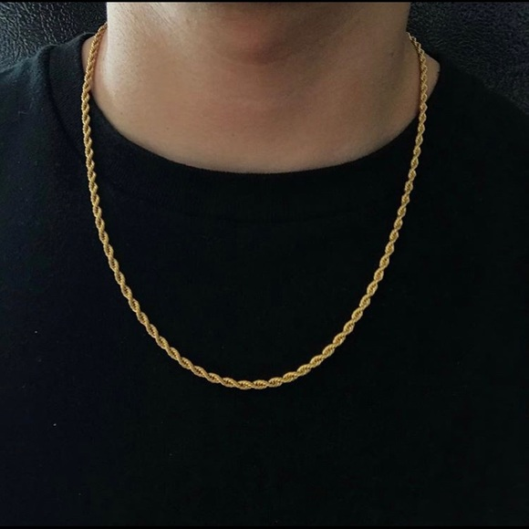 97ee1716f536c 14k Gold Plated Rope Chain 4mm 22/24 Inches